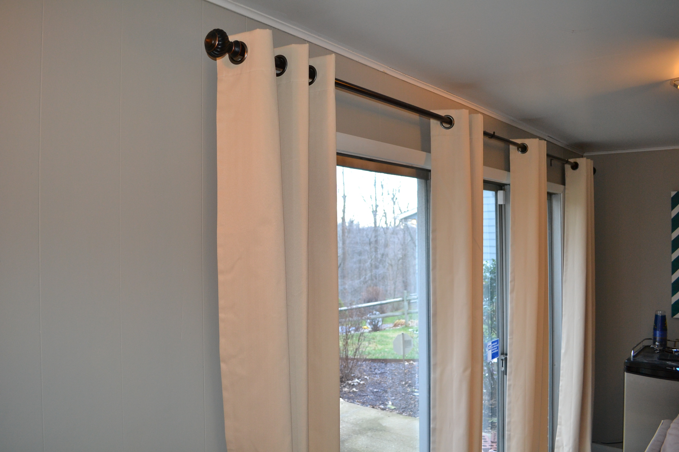 Here is a close up of the drapes against the grey walls much better