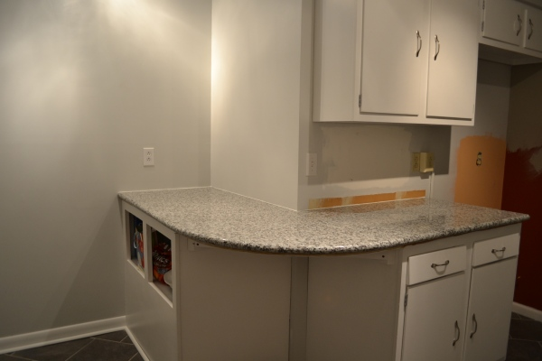 where we added the new cabinetry and countertop wrap around