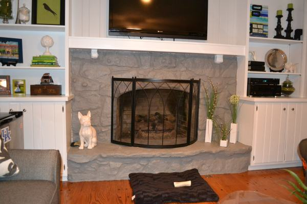den painted fireplace