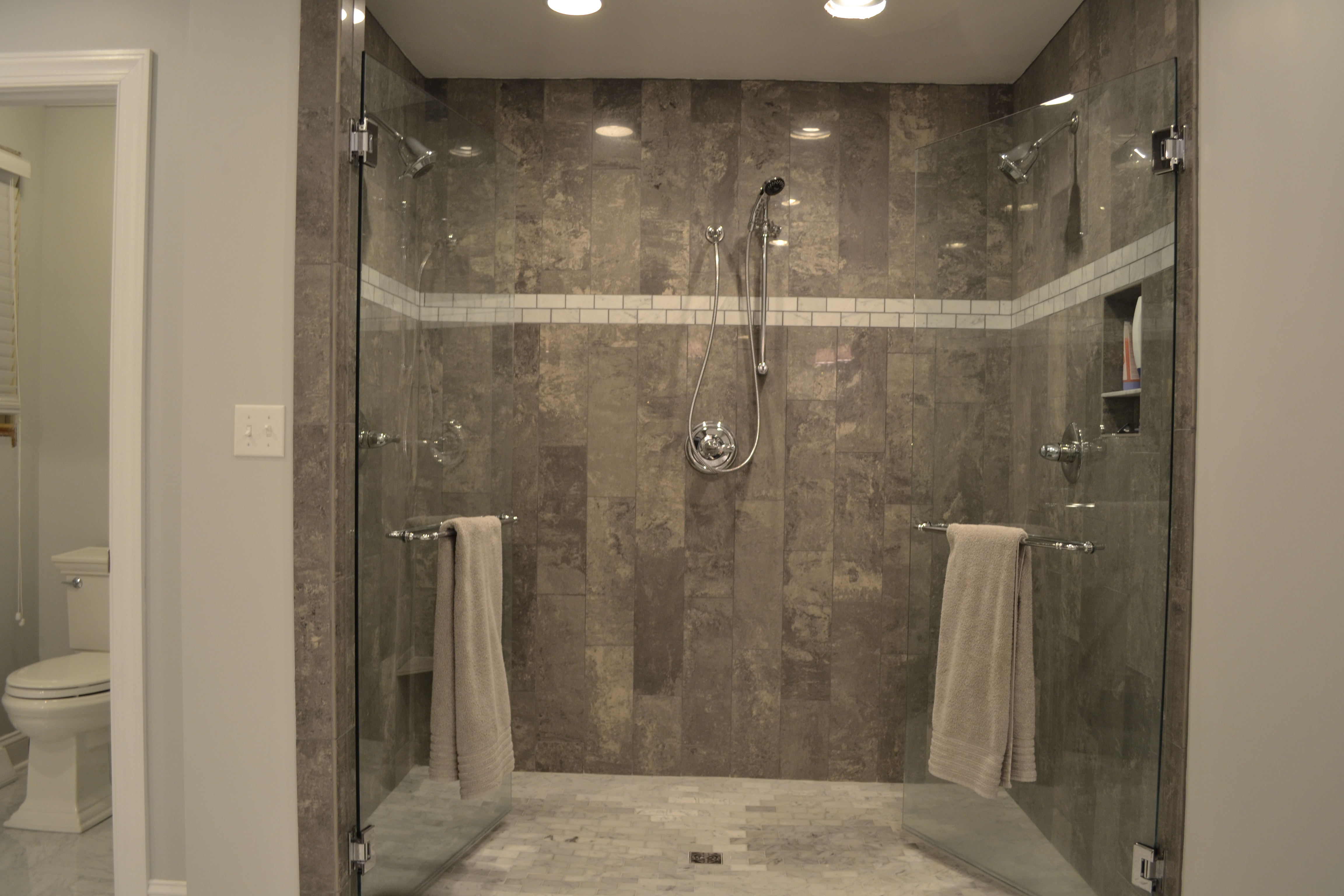 Master bathroom reveal for Master bathroom glass doors